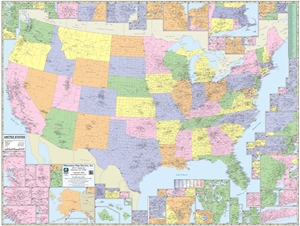"""Picture of United States County & Town Map 63"""" x 48"""""""