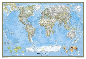 Geographic Map Of World.Themapstore National Geographic World Wall Map Blue Ocean