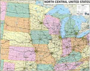 TheMapStore United States Maps - Us midwest map
