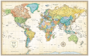 Themapstore Rand Mcnally World Wall Map Antique Style Antique